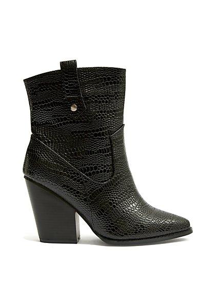 Plus Size A Rider - Black Faux-Croc Boots - Fashion To Figure