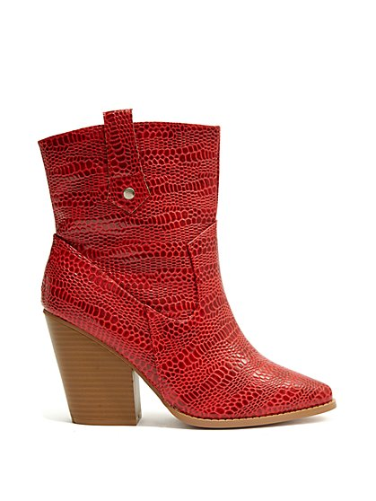 Plus Size A Rider - Red Faux-Croc Boots - Fashion To Figure