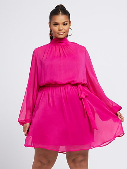 Plus Size Adrianne Chiffon Mockneck Flare Dress - Fashion To Figure