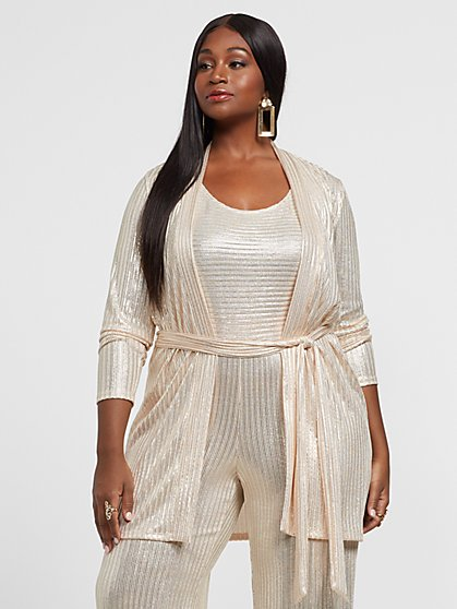 Plus Size Ariela Champagne Duster - Fashion To Figure