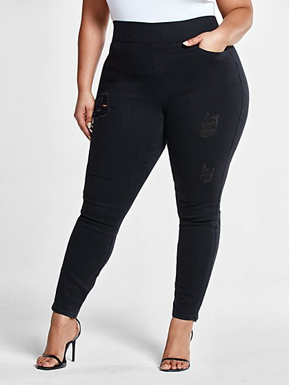 Plus Size Black High-Rise Destructed Jeggings - Fashion To Figure