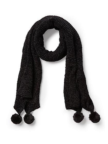 Plus Size Black Pom Pom Scarf - Fashion To Figure