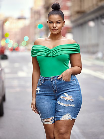Plus Size Briana Off Shoulder Bodysuit - Fashion To Figure