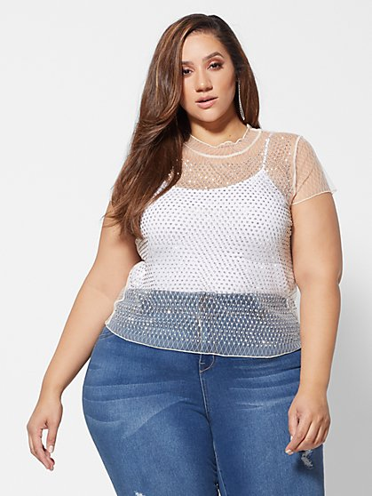 Plus Size Cara Studded Mesh Tee - Fashion To Figure