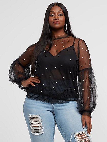 Plus Size Caria Faux-Pearl Mesh Blouse - Fashion To Figure