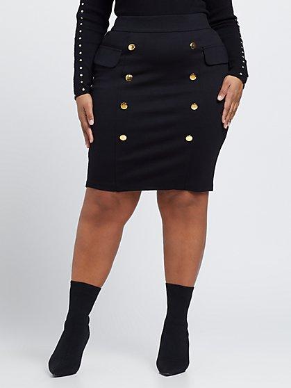 Plus Size Clara Double Button Pencil Skirt - Fashion To Figure