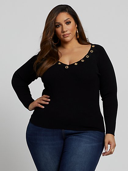 Plus Size Coco Rib Knit Grommet Detail Sweater - Fashion To Figure