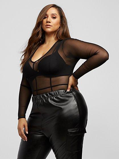 Plus Size Cozetta Long Sleeve Mesh Bodysuit - Fashion To Figure