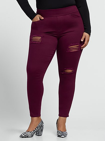Plus Size Dark Red High-Rise Destructed Jeggings - Fashion To Figure