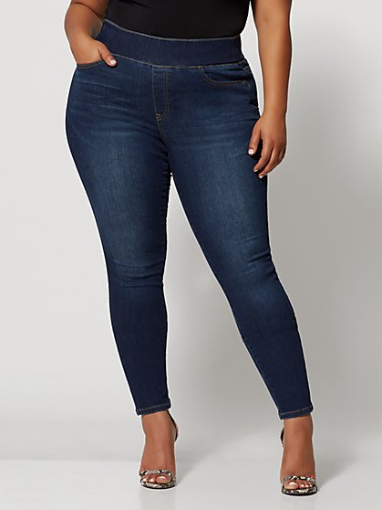 Plus Size Dark Wash High-Rise Jeggings - Fashion To Figure