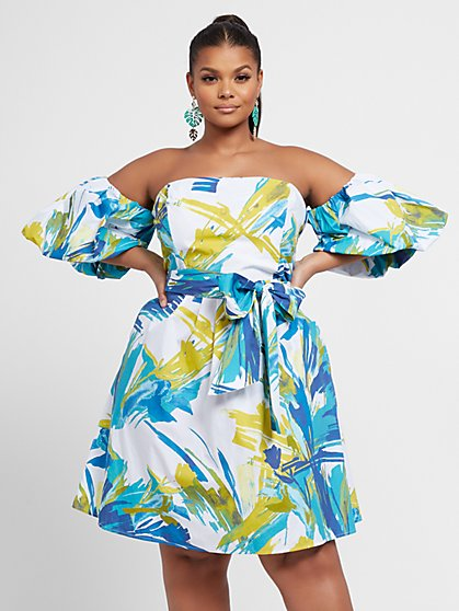 Plus Size Elizabeth Watercolor Print Puff Sleeve Dress - Fashion To Figure