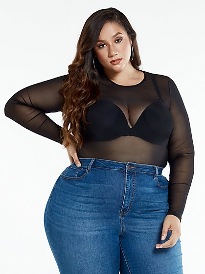 Plus Size Evelyn Black Scoop Neck Top - Fashion To Figure