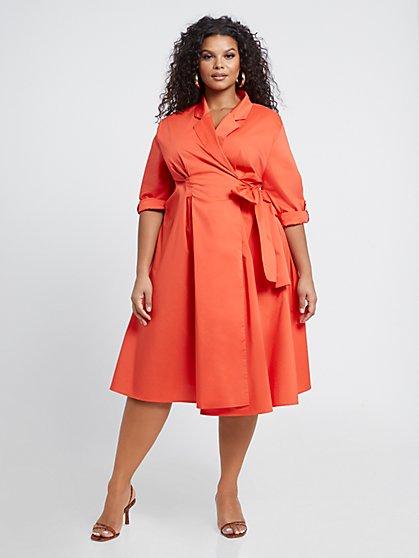 Plus Size Everleigh Poplin Wrap Dress - Fashion To Figure