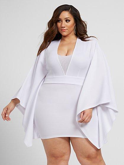Plus Size Giavanna Scuba Knit Dress with Drama Sleeves - Fashion To Figure