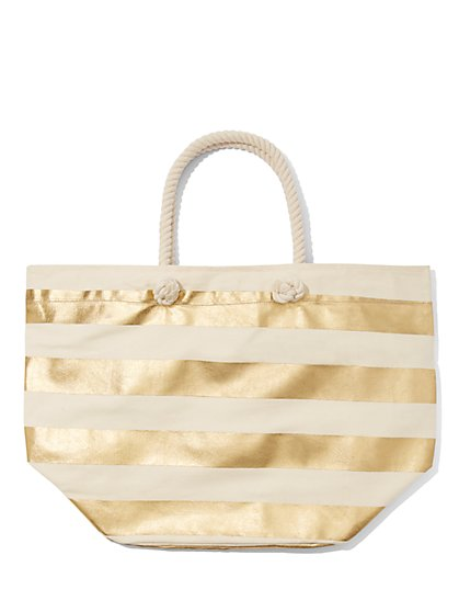 Plus Size Gold and White Striped Beach Tote Bag - Fashion To Figure