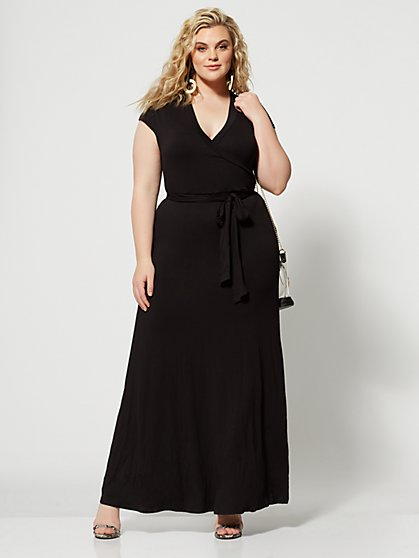 Plus Size Grace Black Faux Wrap Maxi Dress - Fashion To Figure