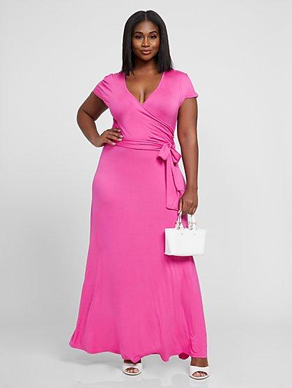 Plus Size Grace Faux Wrap Maxi Dress - Fashion To Figure