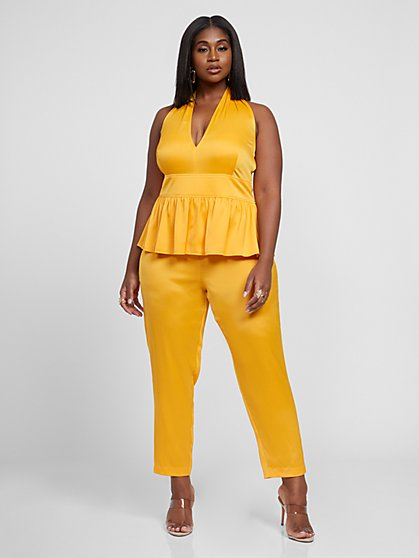 Plus Size Gwen Halter Jumpsuit - Fashion To Figure