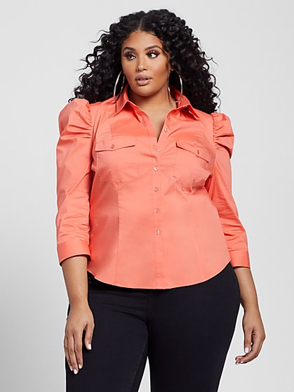 Plus Size Harlow Coral Puff Sleeve Button Front Poplin Shirt - Fashion To Figure