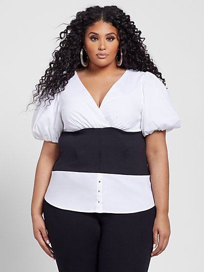 Plus Size Imani Puff Sleeve Mixed Media Top - Fashion To Figure