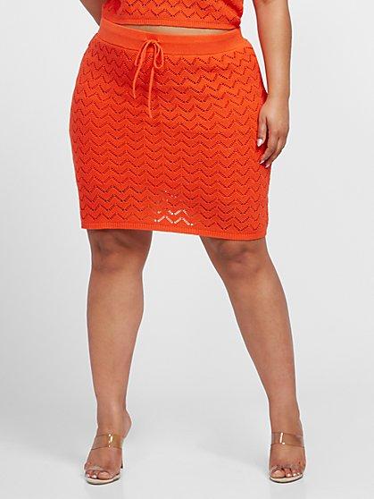 Plus Size Ingrid Pointelle Mini Skirt - Fashion To Figure