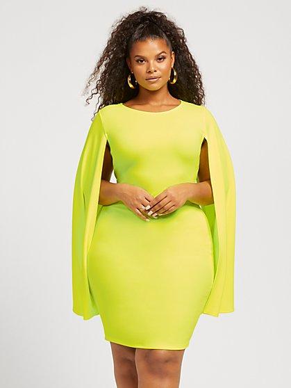 Plus Size Isa Cape Bodycon Dress - Fashion To Figure