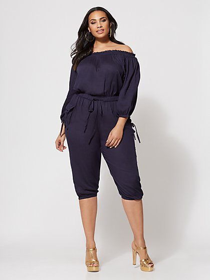 Plus Size Jenny Off-Shoulder Utility Jumpsuit - Fashion To Figure