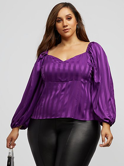 Plus Size Julietta Puff Sleeve Sweetheart Top - Fashion To Figure