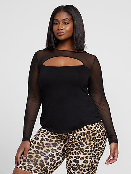 Plus Size Kali Mesh Sleeve Cutout Top - Fashion To Figure