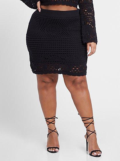 Plus Size Kamilah Crochet Mini Skirt - Fashion To Figure