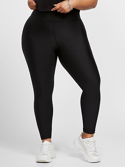 Plus Size Kaya Black High Rise Shine Leggings - Fashion To Figure