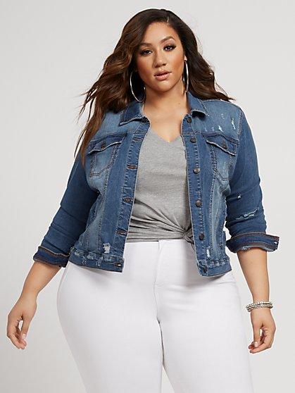 Plus Size Layla Destructed Denim Jacket - Fashion To Figure
