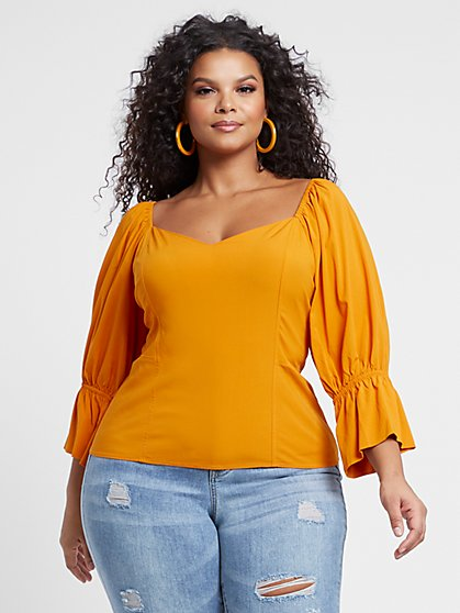 Plus Size Lyanna Puff Sleeve Bustier Top - Fashion To Figure