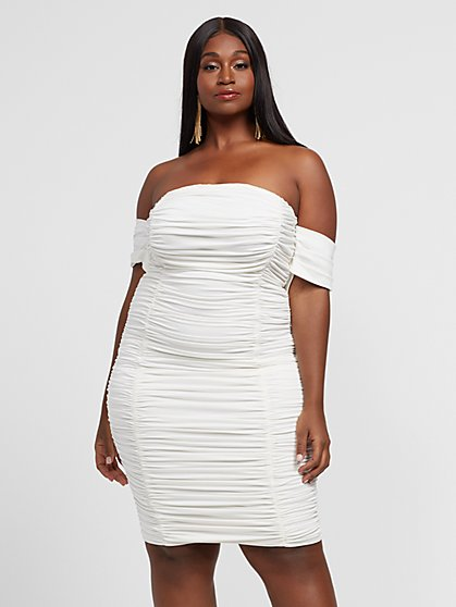 Plus Size Maxine Ruched Off Shoulder Dress - Fashion To Figure