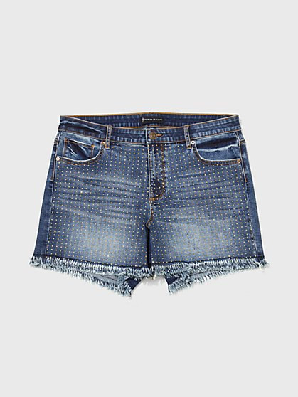 Plus Size Mid-Rise Studded Shorts - Fashion To Figure