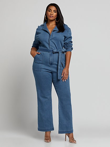 Plus Size Naomi Dolman Sleeve Denim Jumpsuit - Fashion To Figure