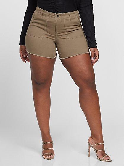 Plus Size Olive Utility Cutoff Shorts - Fashion To Figure