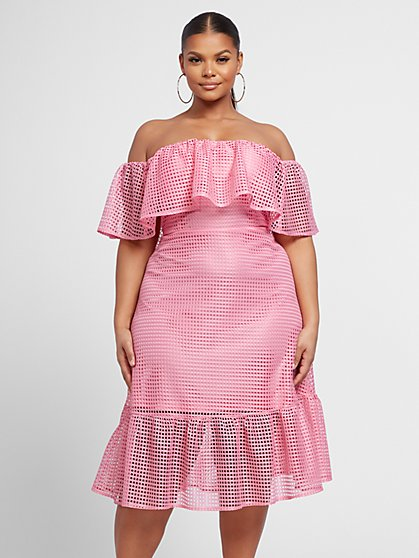 Plus Size Olivia Off Shoulder Perforated Dress - Fashion To Figure
