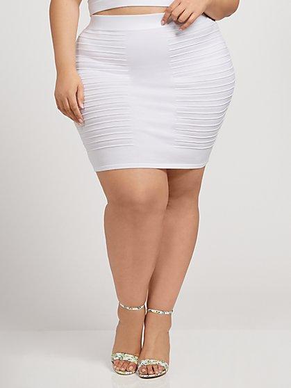 Plus Size Paulina Plaited Mini Sweater Skirt - Fashion To Figure
