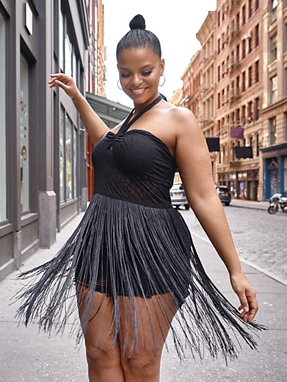 Plus Size Phoebe Fringe Halter Top - Fashion To Figure
