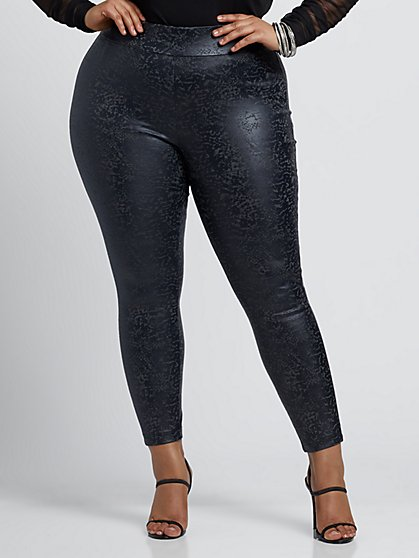 Plus Size Printed Faux-Leather Ponte Pants - Fashion To Figure