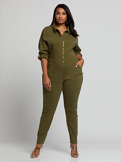 Plus Size Quinn Utility Zip Front Denim Jumpsuit - Fashion To Figure