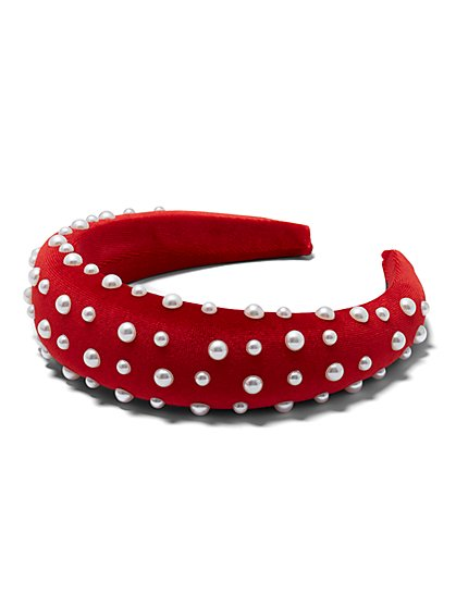 Plus Size Red Velvet Faux-Pearl Headband - Fashion To Figure