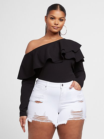 Plus Size Rosa Double Ruffle Fitted Top - Fashion To Figure