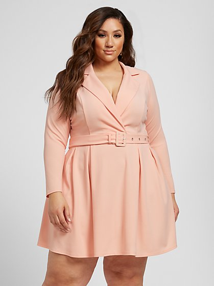 Plus Size Shakera Belted Flare Blazer Dress - Fashion To Figure