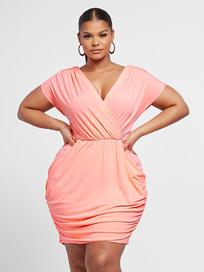 Plus Size Shiloh Draped Bodycon Dress - Fashion To Figure
