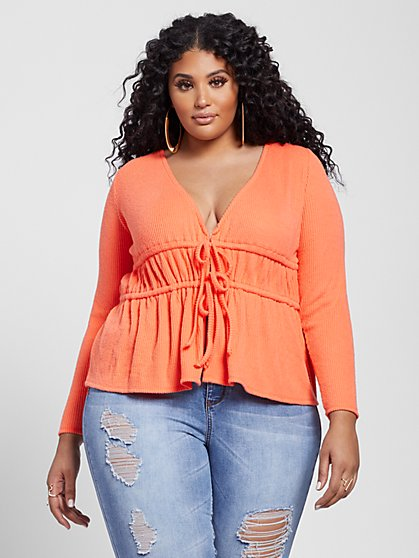 Plus Size Stacy Double Tie Waist Top - Fashion To Figure