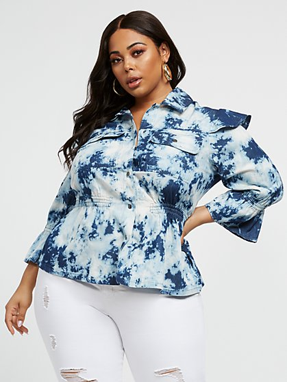 Plus Size Stella Tie Dye Peplum Top - Fashion To Figure