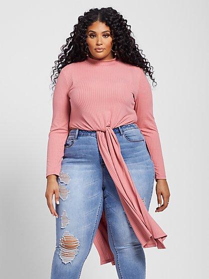 Plus Size Tami Hi-Lo Tie Front Tunic - Fashion To Figure