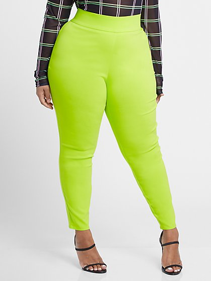 Plus Size The City Twisted Lime Pull-On Pants - Fashion To Figure